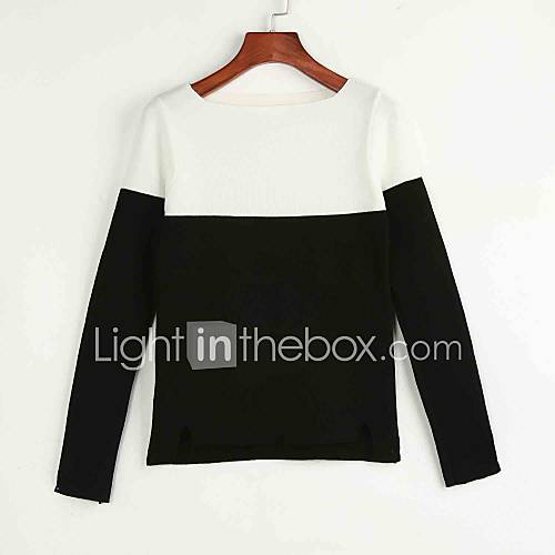 dames-casual-dagelijks-eenvoudig-normaal-pullover-kleurenblok-zwart-grijs-boothals-lange-mouw-katoen-herfst-winter-medium