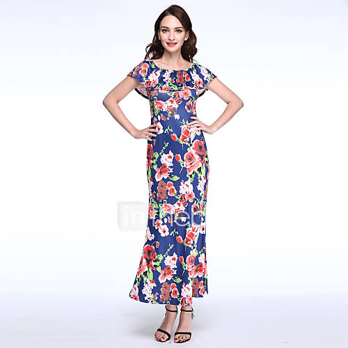 Vrouwen Uitgaan Vintage Schede Jurk Bloemen-Boothals Maxi Mouwloos Blauw / Wit Polyester Zomer