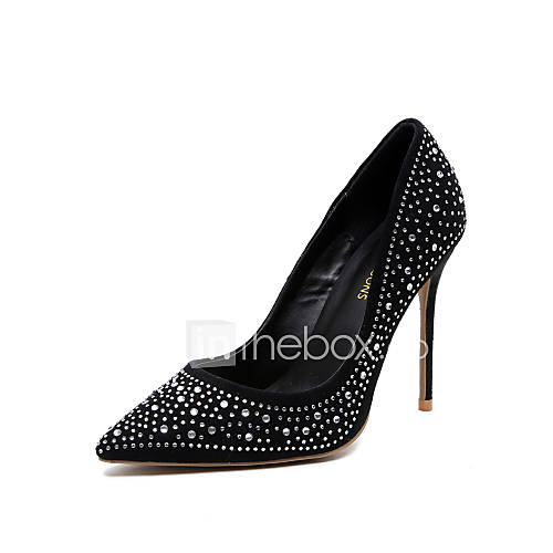 Women's Shoes Leather Spring Summer Fall Heels Stiletto Heel Pointed Toe Crystal For Dress Party  Evening Black