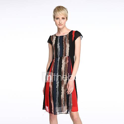 vrouwen-uitgaan-grote-maten-street-chic-wijd-uitlopend-jurk-gestreept-ronde-hals-tot-de-knie-korte-mouw-rood-geel-polyester-zomer