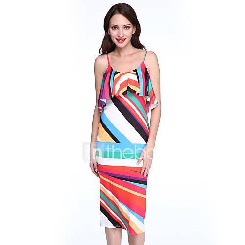 vrouwen-casual-dagelijks-street-chic-bodycon-jurk-kleurenblok-bandje-midi-mouwloos-roze-polyester-zomer