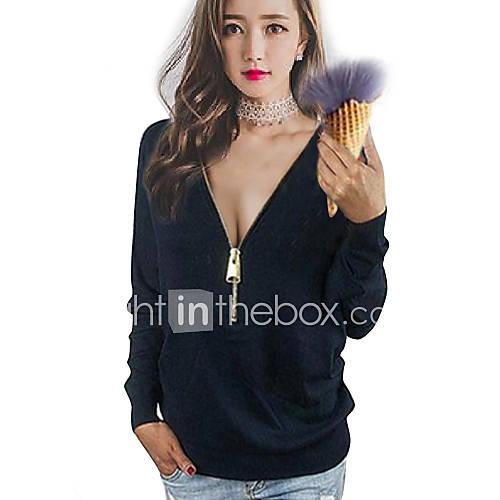 dames-sexy-lente-herfst-t-shirt-casual-dagelijks-grote-maten-effen-v-hals-lange-mouw-blauw-roze-zwart-katoen-medium