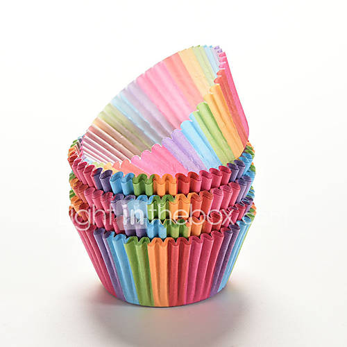 100 Pcs Rainbow Color  Cupcake Liner Baking Cup Cupcake Paper Muffin Cases Cake Box Cup Tray Cake Mold Decorating Tools