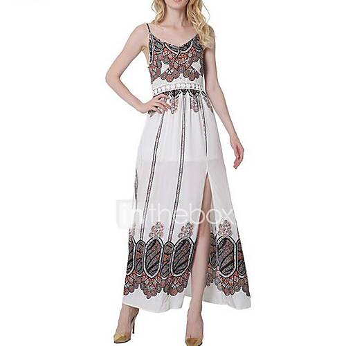dames-uitgaan-eenvoudig-ruimvallend-jurk-bloemen-bandje-maxi-mouwloos-wit-katoen-rayon-lente-zomer-medium-taille-micro-elastisch-dun