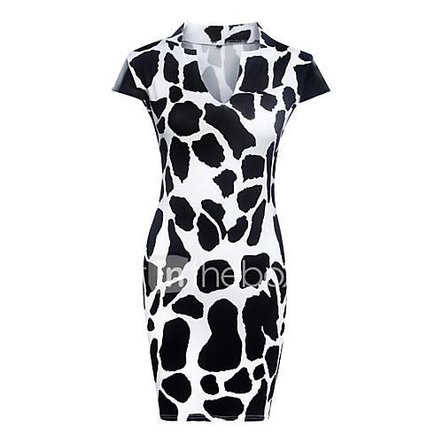 vrouwen-sexy-schede-print-jurk-tot-de-knie-v-hals-polyester