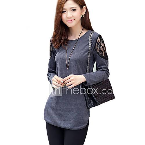 vrouwen-street-chic-alle-seizoenen-t-shirt-casual-dagelijks-effen-ronde-hals-lange-mouw-zwart-grijs-rayon-polyester-dun