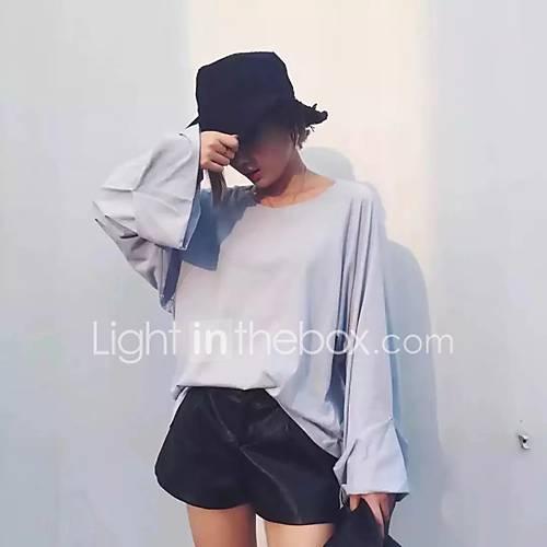 dames-eenvoudig-street-chic-herfst-winter-t-shirt-uitgaan-casual-dagelijks-effen-ronde-hals-lange-mouw-blauw-zwart-grijs-katoen-medium
