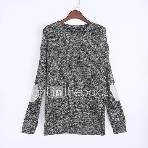dames-casual-dagelijks-eenvoudig-normaal-pullover-effen-grijs-ronde-hals-lange-mouw-polyester-herfst-winter-medium-micro-elastisch