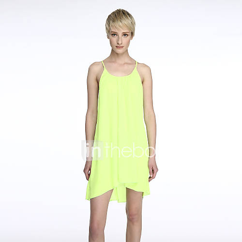 vrouwen-casual-strand-ruimvallend-effen-jurk-mini-bandje-polyester-nylon-spandex