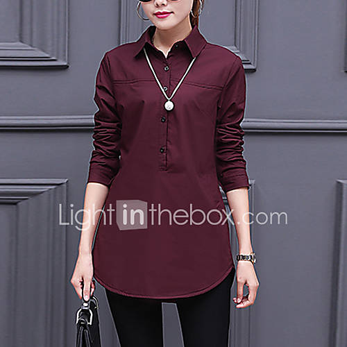 dames-eenvoudig-herfst-winter-overhemd-casual-dagelijks-werk-effen-overhemdkraag-lange-mouw-rood-wit-zwart-katoen-rayon-medium