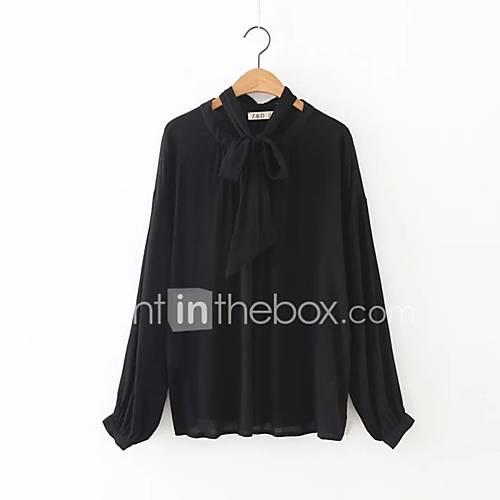 dames-eenvoudig-street-chic-herfst-winter-overhemd-casual-dagelijks-uitgaan-effen-opstaand-lange-mouw-wit-zwart-rayon-polyester-medium