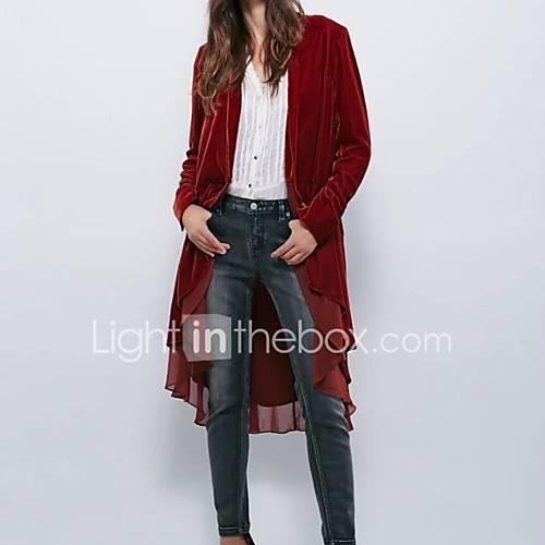 dames-eenvoudig-street-chic-herfst-winter-trenchcoat-uitgaan-casual-dagelijks-diepe-v-hals-lange-mouw-rood-zwart-effen-medium-rayon