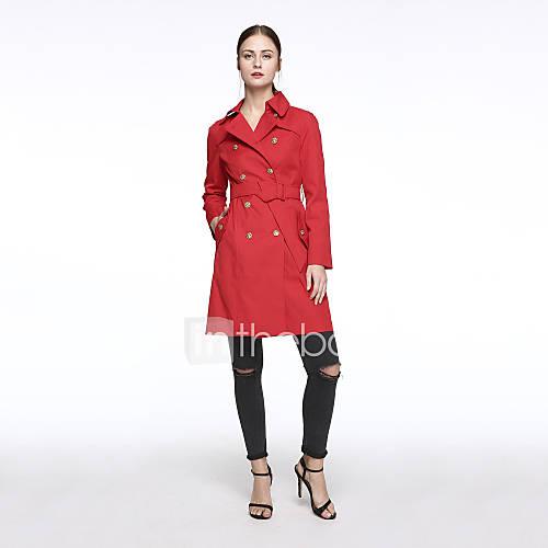 vrouwen-eenvoudig-herfst-winter-trenchcoat-casual-dagelijks-overhemdkraag-lange-mouw-rood-effen-polka-dot-medium-spandex