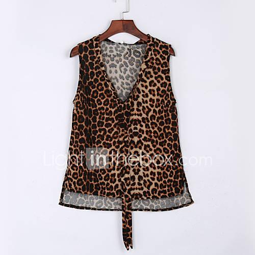 vrouwen-vintage-zomer-t-shirt-casual-dagelijks-luipaard-v-hals-mouwloos-geel-polyester-medium