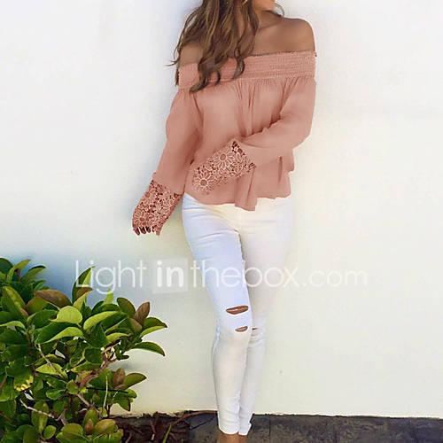 dames-sexy-eenvoudig-street-chic-lente-herfst-t-shirt-vakantie-uitgaan-casual-dagelijks-effen-schouderafhangend-lange-mouw-roze-rood-bruin
