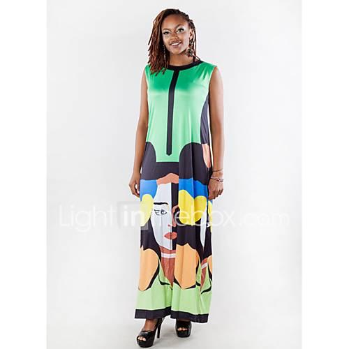 dames-casual-dagelijks-eenvoudig-wijd-uitlopend-jurk-effen-ronde-hals-maxi-mouwloos-groen-paars-katoen-lente-medium-taille-micro-elastisch