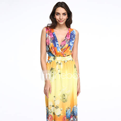 vrouwen-vakantie-grote-maten-boho-chiffon-jurk-print-diepe-v-hals-maxi-mouwloos-geel-polyester-zomer