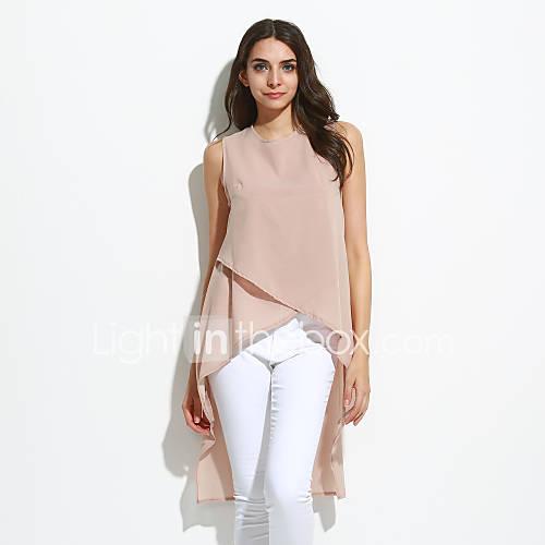 dames-eenvoudig-alle-seizoenen-blouse-casual-dagelijks-effen-ronde-hals-korte-mouw-blauw-rood-beige-zwart-polyester-medium