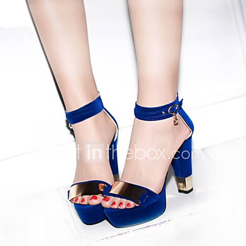 Women's Sandals Spring Summer Fall PU Casual Party  Evening Chunky Heel Metallic toe Black Blue Red