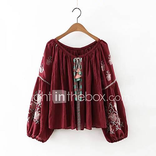 dames-eenvoudig-schattig-herfst-winter-blouse-uitgaan-casual-dagelijks-geborduurd-ronde-hals-lange-mouw-rood-wit-katoen-medium