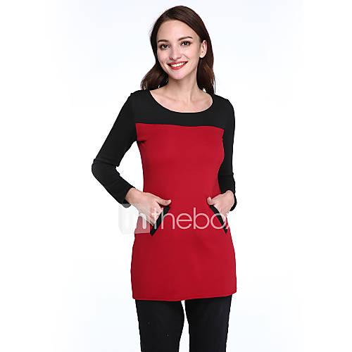 ronde-hals-katoenmixen-zak-boven-de-knie-vrouwen-jurk-lange-mouw