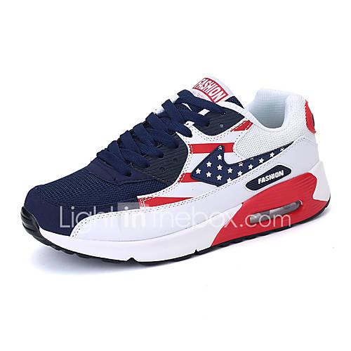 Hombre-Tacón Plano-Confort-Zapatillas de Atletismo-Informal-PU-Negro Azul Rosa Morado Rojo