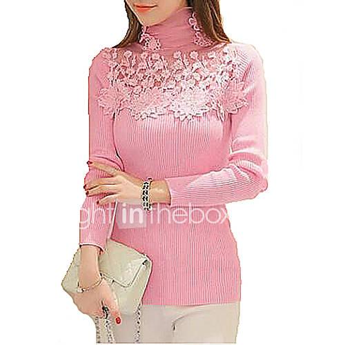 dames-uitgaan-casual-dagelijks-schattig-normaal-pullover-effen-roze-wit-zwart-grijs-coltrui-lange-mouw-katoen-bamboe-vezel-polyester-lente
