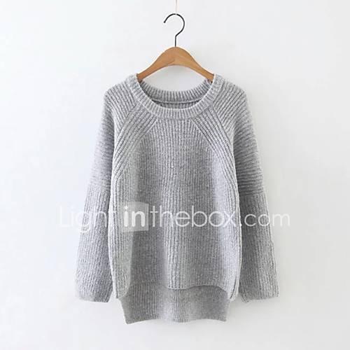 dames-uitgaan-casual-dagelijks-eenvoudig-street-chic-normaal-pullover-effen-blauw-wit-grijs-ronde-hals-lange-mouw-rayon-acryl-polyester