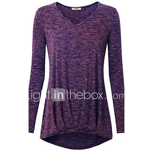 dames-eenvoudig-herfst-winter-t-shirt-casual-dagelijks-effen-ronde-hals-lange-mouw-rood-zwart-paars-katoen-polyester-medium