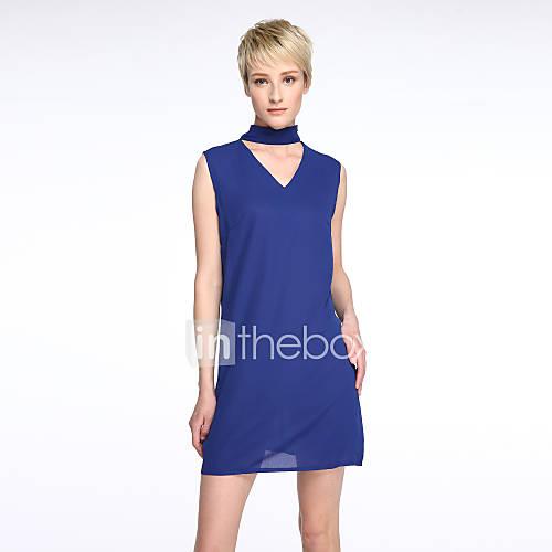 vrouwen-uitgaan-eenvoudig-street-chic-recht-chiffon-jurk-effen-strakke-ronde-hals-mini-mouwloos-blauw-polyester-zomer