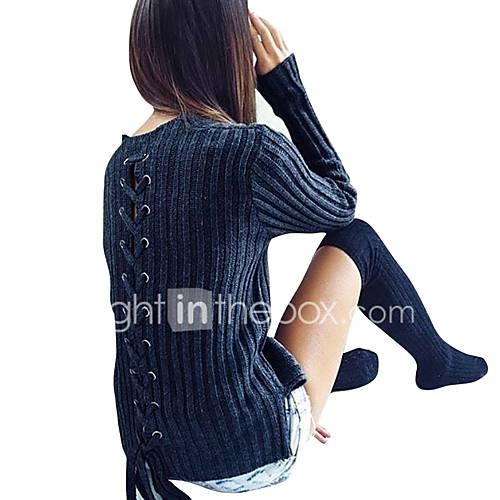 dames-uitgaan-casual-dagelijks-vakantie-sexy-eenvoudig-street-chic-lang-pullover-effen-blauw-ronde-hals-lange-mouw-polyester-herfst-winter