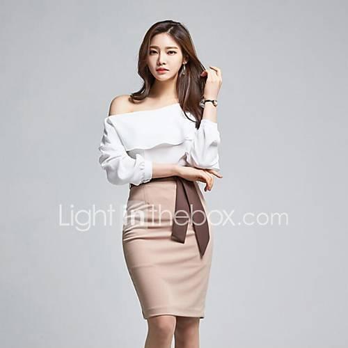 dames-casual-dagelijks-eenvoudig-schede-jurk-effen-schouderafhangend-boven-de-knie-lange-mouw-wit-polyester-lente-medium-taille