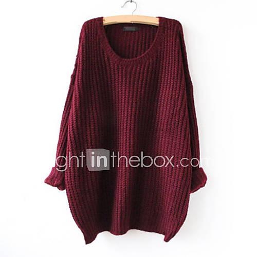 dames-uitgaan-casual-dagelijks-eenvoudig-normaal-pullover-effen-rood-bruin-grijs-groen-ronde-hals-lange-mouw-acryl-herfst-dun
