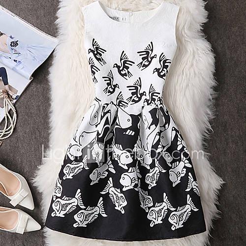 dames-casual-dagelijks-sexy-vintage-schattig-schede-jurk-print-dierenprint-ronde-hals-boven-de-knie-mouwloos-zwart-polyester-lente-zomer