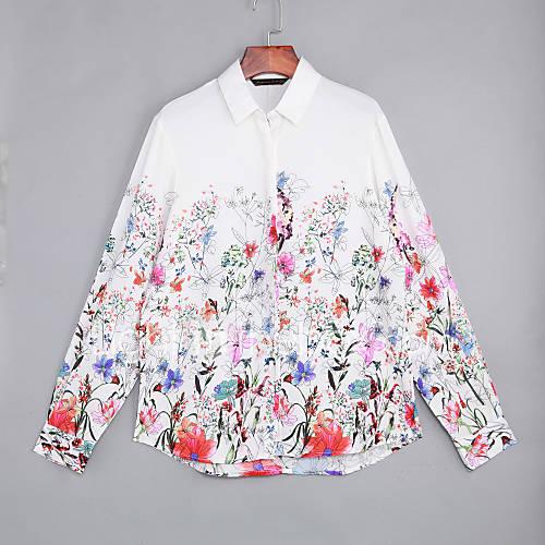 vrouwen-vintage-zomer-overhemd-casual-dagelijks-bloemen-overhemdkraag-lange-mouw-rood-katoen-polyester-medium