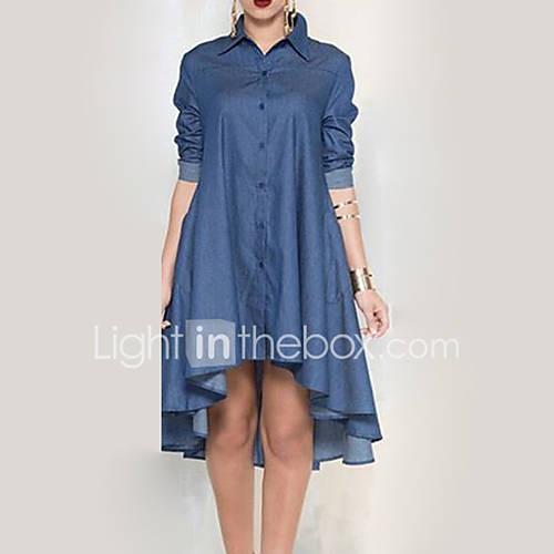 dames-casual-dagelijks-eenvoudig-denim-jurk-effen-overhemdkraag-tot-de-knie-lange-mouw-blauw-rayon-herfst-medium-taille-micro-elastisch