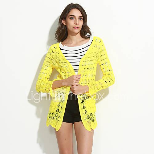 dames-casual-dagelijks-eenvoudig-lang-vest-effen-roze-beige-zwart-groen-geel-v-hals-lange-mouw-polyester-alle-seizoenen-medium