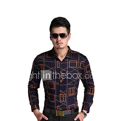 heren-eenvoudig-street-chic-herfst-overhemd-uitgaan-casual-dagelijks-werk-gestreept-geometrisch-overhemdkraag-lange-mouw-bruin