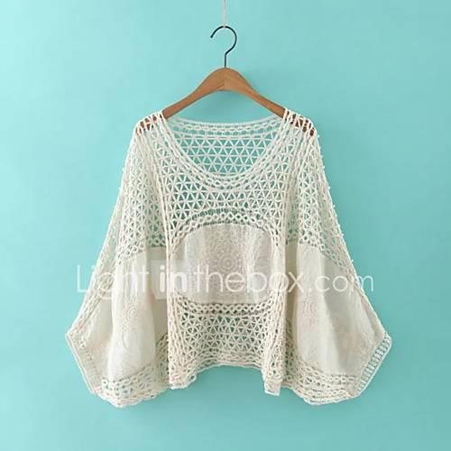 dames-eenvoudig-street-chic-herfst-winter-overhemd-uitgaan-casual-dagelijks-effen-ronde-hals-lange-mouw-wit-beige-katoen-polyester-medium