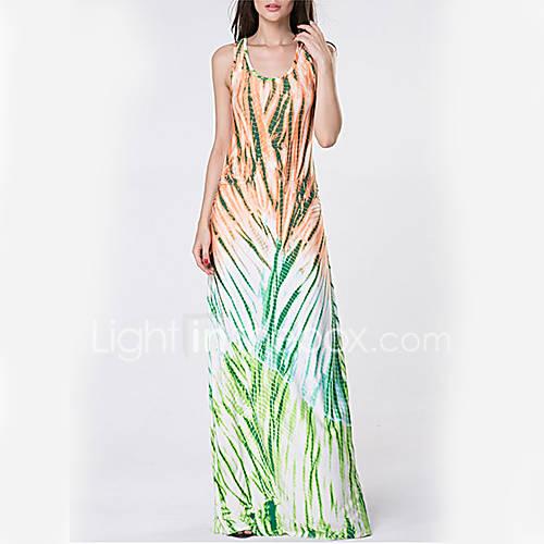dames-casual-dagelijks-eenvoudig-schede-jurk-print-u-hals-maxi-mouwloos-blauw-polyester-lente-zomer-hoge-taille-micro-elastisch-dun