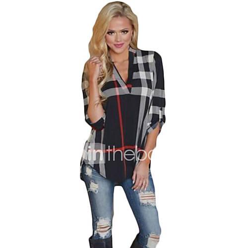 dames-eenvoudig-lente-herfst-t-shirt-casual-dagelijks-geometrisch-v-hals-lange-mouw-meerkleurig-katoen-medium