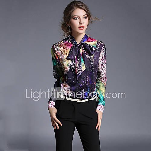 dames-street-chic-lente-herfst-overhemd-casual-dagelijks-werk-print-assymmetrisch-lange-mouw-meerkleurig-katoen-polyester-medium