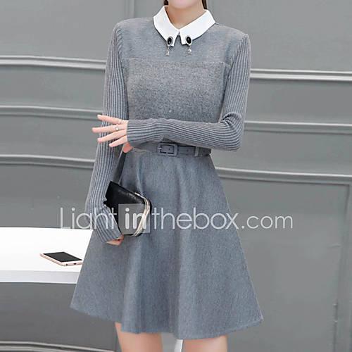 dames-uitgaan-eenvoudig-a-lijn-jurk-effen-overhemdkraag-boven-de-knie-lange-mouw-grijs-acryl-polyester-herfst-winter-medium-taille