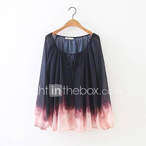 dames-eenvoudig-street-chic-herfst-winter-blouse-uitgaan-casual-dagelijks-kleurenblok-ronde-hals-lange-mouw-rood-polyester-spandex-medium