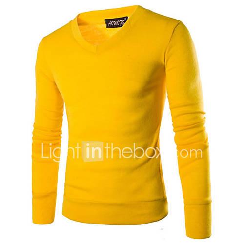 heren-casual-dagelijks-eenvoudig-normaal-pullover-effen-rood-zwart-bruin-grijs-geel-paars-v-hals-lange-mouw-katoen-polyester-herfst-winter