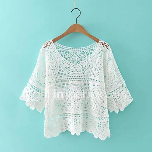 dames-eenvoudig-street-chic-herfst-winter-overhemd-uitgaan-casual-dagelijks-effen-v-hals-driekwart-mouw-wit-beige-katoen-acryl-polyester