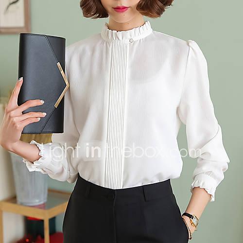 dames-eenvoudig-verfijnd-lente-herfst-blouse-casual-dagelijks-nette-schoenen-werk-effen-opstaand-lange-mouw-wit-zwart-groen-meerkleurig