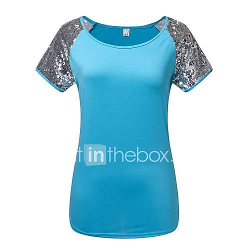 dames-eenvoudig-street-chic-zomer-herfst-t-shirt-uitgaan-casual-dagelijks-patchwork-ronde-hals-korte-mouw-blauw-grijs-polyester-medium