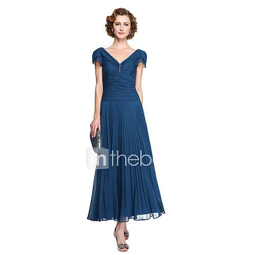 Simple Elegant Tea Length Chiffon Cap Sleeve Wedding: 2017Lanting Bride® Sheath / Column Mother Of The Bride