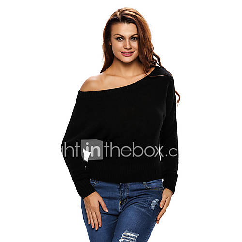 dames-casual-dagelijks-werk-sexy-eenvoudig-normaal-pullover-effen-zwart-boothals-lange-mouw-polyester-spandex-herfst-winter-medium-rekbaar